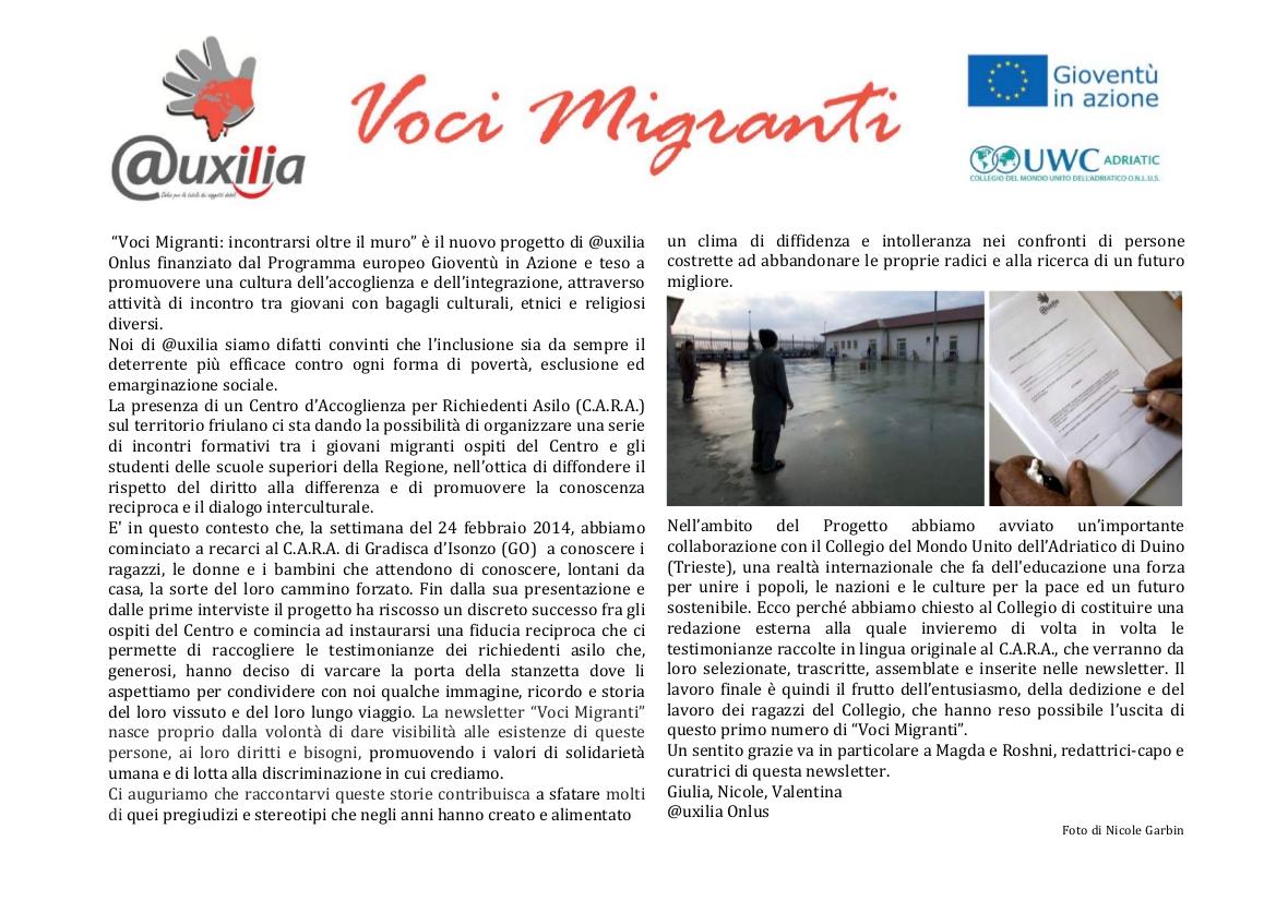 "Newsletter ""Voci Migranti"" pag 01"