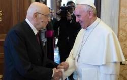 Papa Francesco Bergoglio e il Presidente della Repubblica Giorgio Napolitano. Fonte: google.it