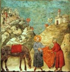 Giotto, Basilica superiore di San Francesco d'Assisi, particolare, affresco, scena in cui San Francesco dona il mantello ad un povero. Fonte google.it