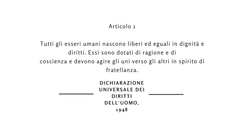 articolo 1 dichiarazione universale dei diritti dell'uomo