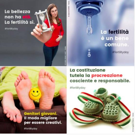 alcune delle cartoline del fertility day