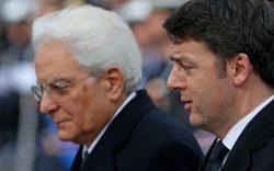 Il presidente della Repubblica Sergio Matterella con il premier Matteo Renzi a piazza Venezia, Roma 3 febbraio 2015. ANSA/ALESSANDRO DI MEO
